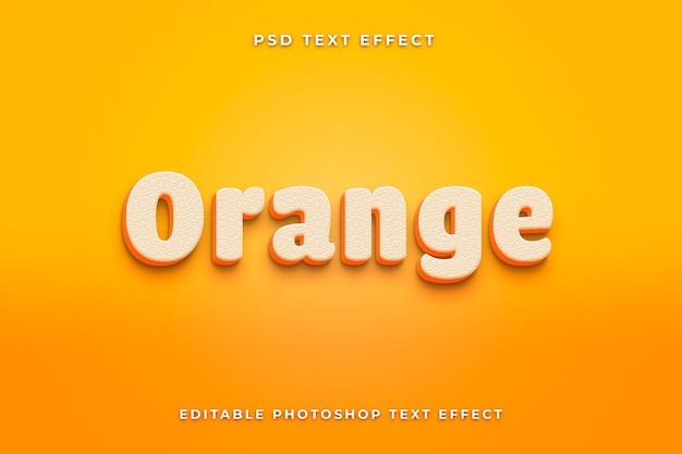 3d 오렌지 텍스트 효과 템플릿