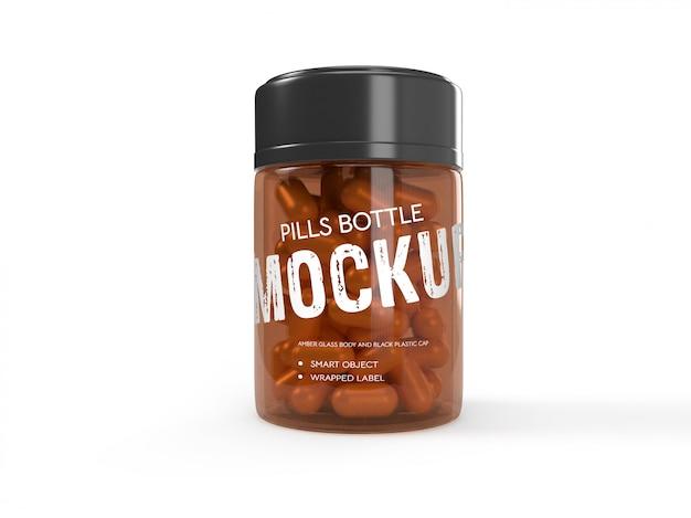 3d packaging design mockup of transparent pills bottle