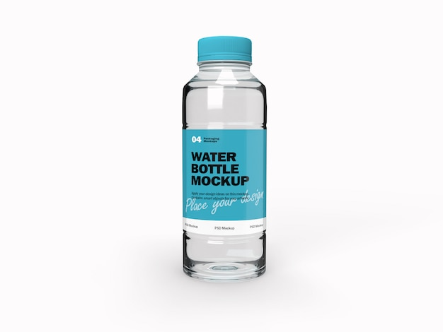 3d packaging design mockup of transparent water bottle