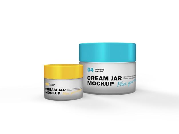3d packaging design mockup of two different matte glass cream jar