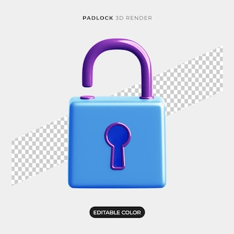 3d padlock icon rendering isolated
