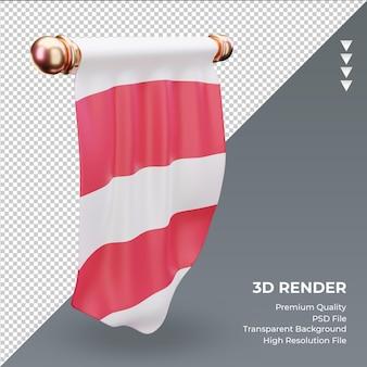 3d 페넌트 오스트리아 국기 렌더링 오른쪽 보기
