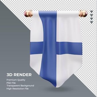 3d 페넌트 핀란드 국기 렌더링 전면 보기