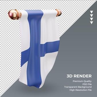 3d 페넌트 핀란드 국기 렌더링 오른쪽 보기