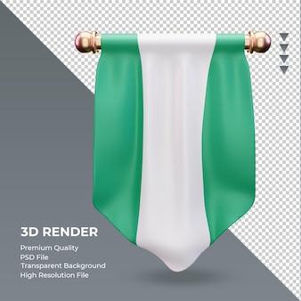 3d 페넌트 나이지리아 플래그 렌더링 전면 보기