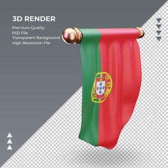 3d визуализация флаг португалии вымпел слева