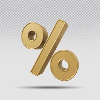 3d символ процента визуализации золотой