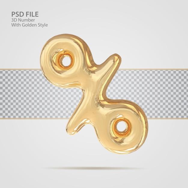 3d процент с роскошным креативом в золотом стиле