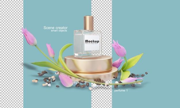 花の中で3d香水瓶のイラスト