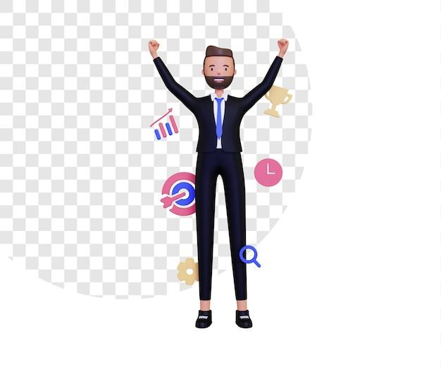 비즈니스 아이콘 및 비즈니스 남자와 3d 개인 목표