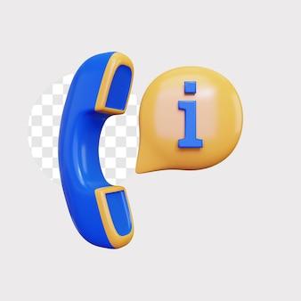 3d 전화 정보 아이콘 개념 그림