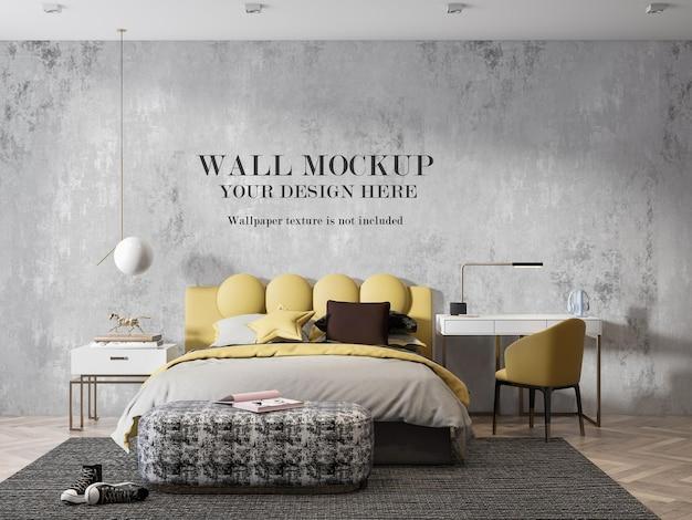 3dフォトリアリスティックな寝室のアートワークの壁のモックアップデザイン