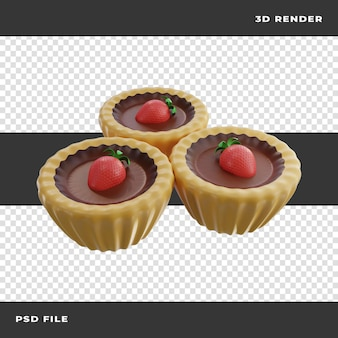 透明な背景にレンダリングされたイチゴと3dパイ