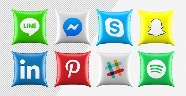 3 d枕ソーシャルメディアのアイコンを設定
