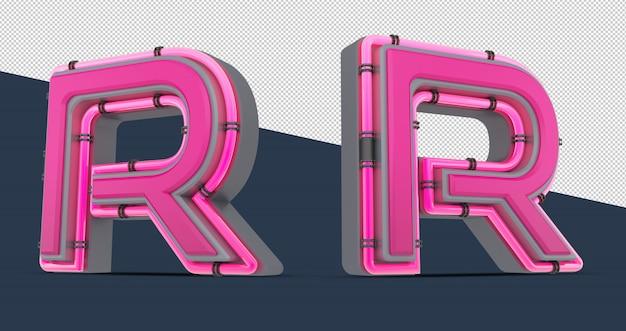 3d розовый алфавит с неоновым светом
