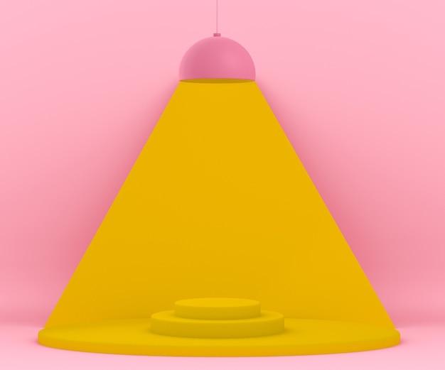 プラットフォームを照らすランプのある3dピンクと黄色の環境