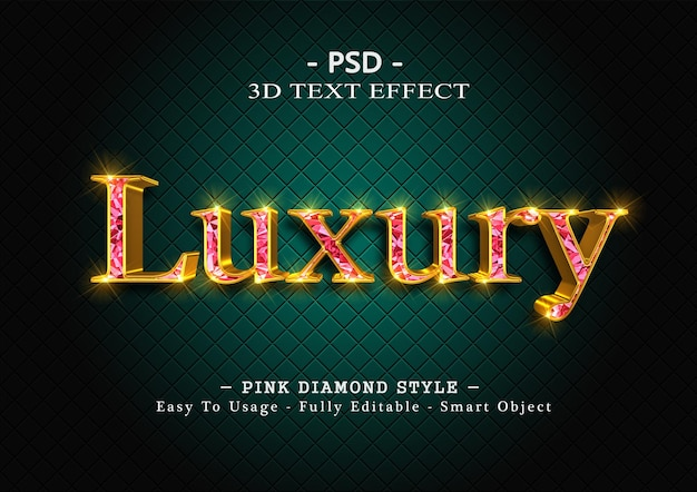 3d pink diamond text style effect