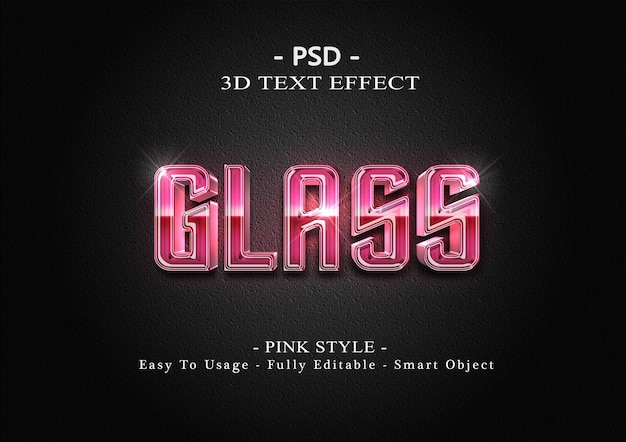 3d 핑크 유리 텍스트 스타일 효과 템플릿