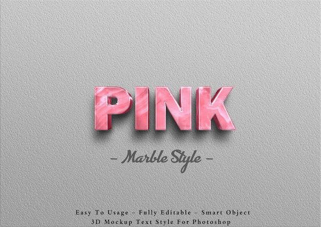 3d pink marble text effect on wall
