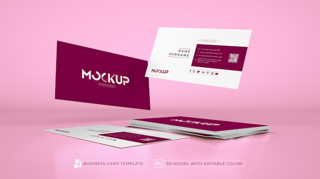 3d розовая монохромная визитная карточка