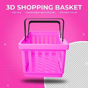 3d розовая пластиковая корзина для покупок изолирована