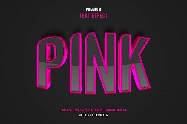 3dピンクのテキストスタイルの効果