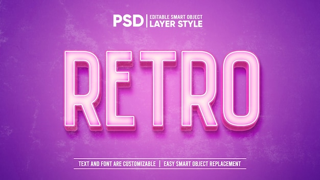 3d pink vintage retro washed old paper text effect template