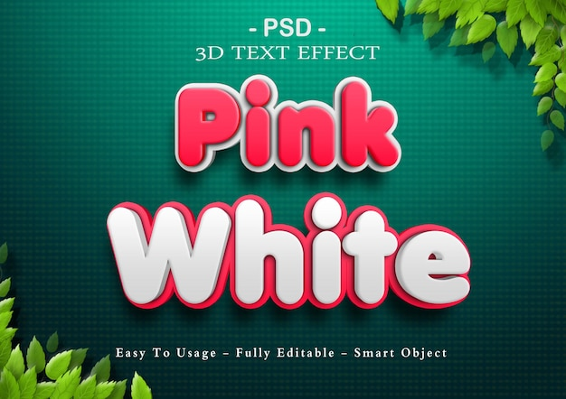 3d pink and white text effect