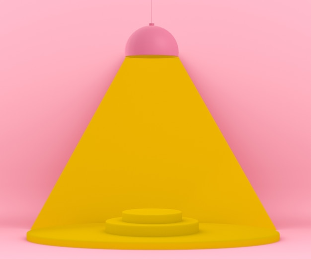 3d pink and yellow environment with a lamp lighting up a platform