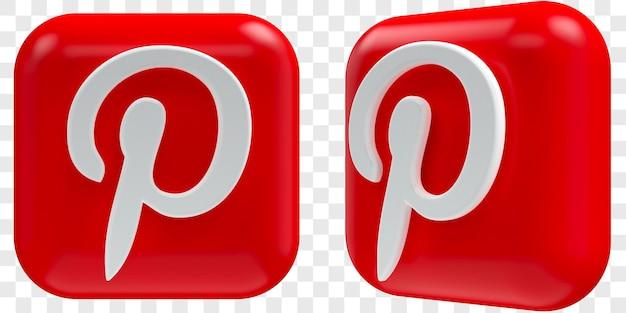 Иконки 3d pinterest в двух углах спереди и три четверти изолированных иллюстраций