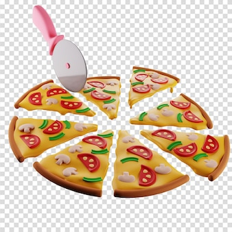 3d pizza with mushrooms is divided by a pizza knife into 8 identical slices isolated illustration