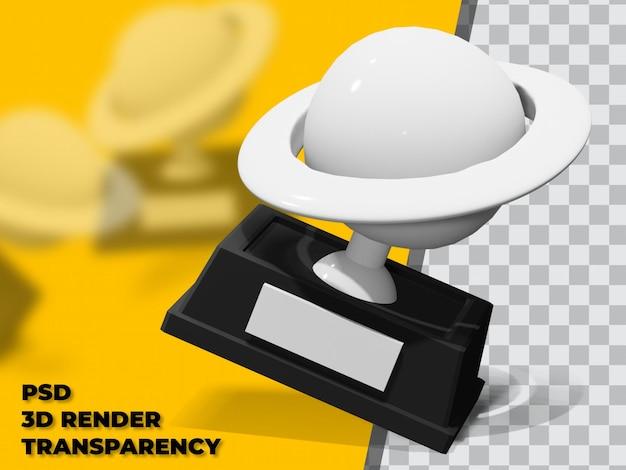 透明性の背景を持つ3dプラネットトロフィー