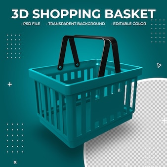 3d plastic shopping basket isolated