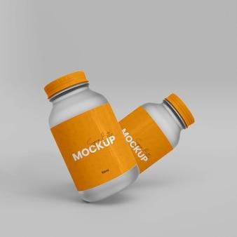 3d 플라스틱 보충 병 목업