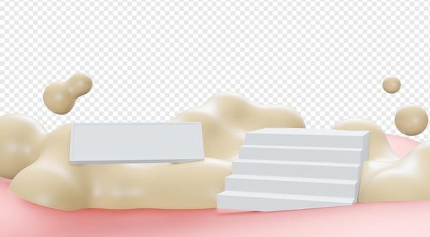Выставочный зал продукта платформы или подиума 3d с облаком лестницы и изолированным знаменем