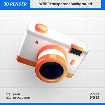 オレンジと黄色の3dポケットカメラアクション写真