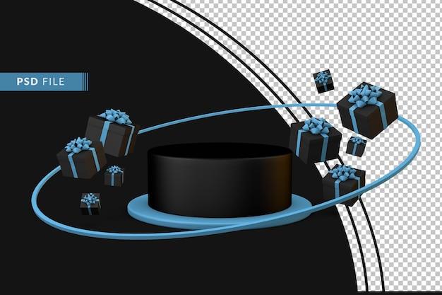 3d-подиум для рекламных акций кибер-понедельника с плавающими подарками