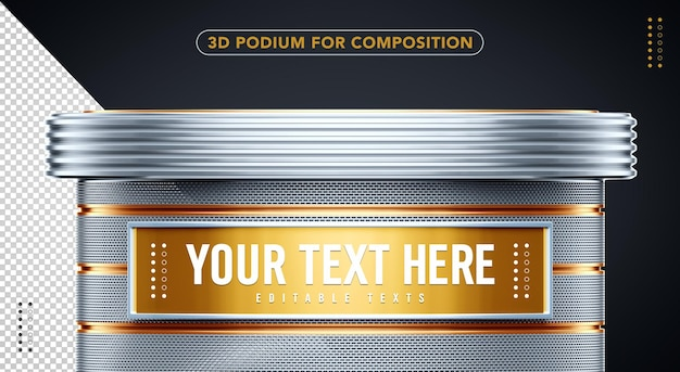 3d podium gold with silver to insert your text here