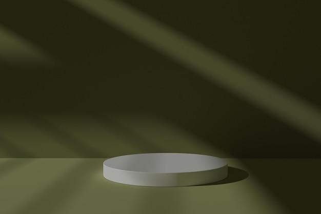 3d сцена на подиуме с абстрактной тенью для демонстрации продукта