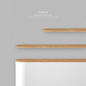 3d podium set with wood on the transparent background