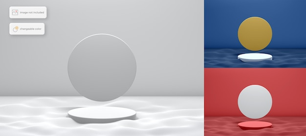 3d podium on the wave with circle background product placement