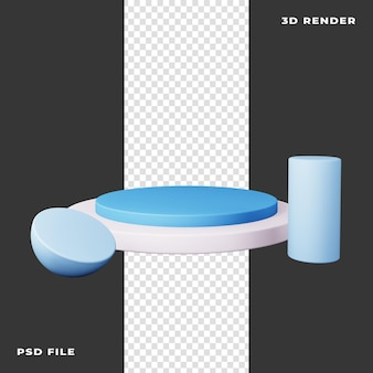 3d podium with geometric shape rendered on transparent background