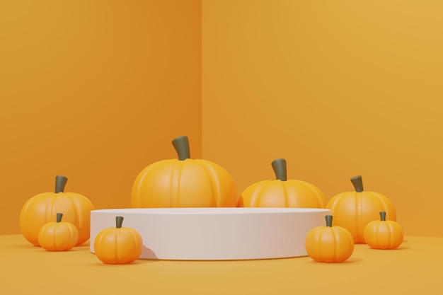 3d podium with halloween theme for product advertisement