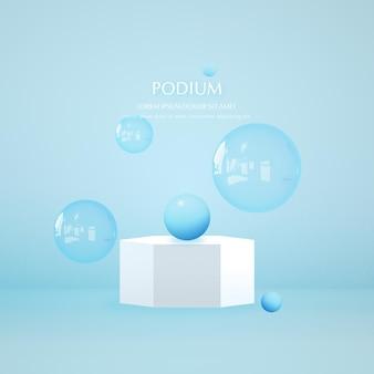 제품 프레젠테이션을 위한 그림자 오버레이 효과가 있는 3d 연단