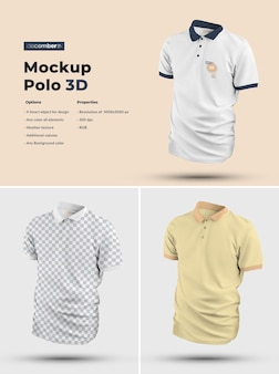 3d polo mockups. design is easy in customizing images design and color t-shirt, cuff, button and collar