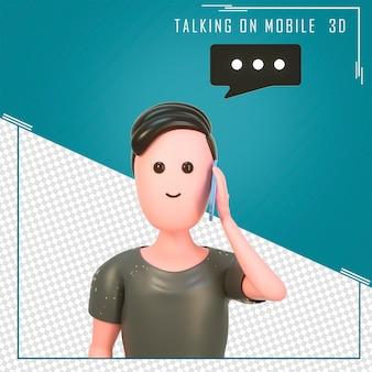 전화 통화 잘 생긴 만화 캐릭터의 3d 초상화