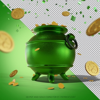 3d pot and gold coins for st. patrick's day rendering