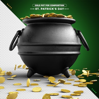 3d pot of gold for st. patrick's day for composition