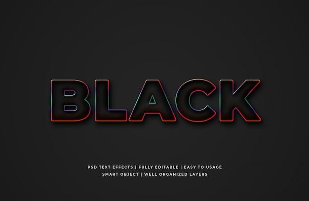 Черный с градиентным контурным эффектом стиля текста 3d premium psd