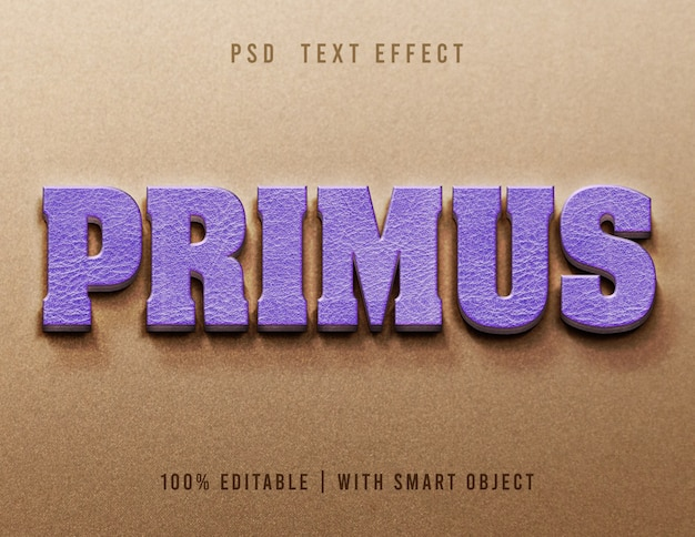 Шаблон текстового эффекта 3d primus